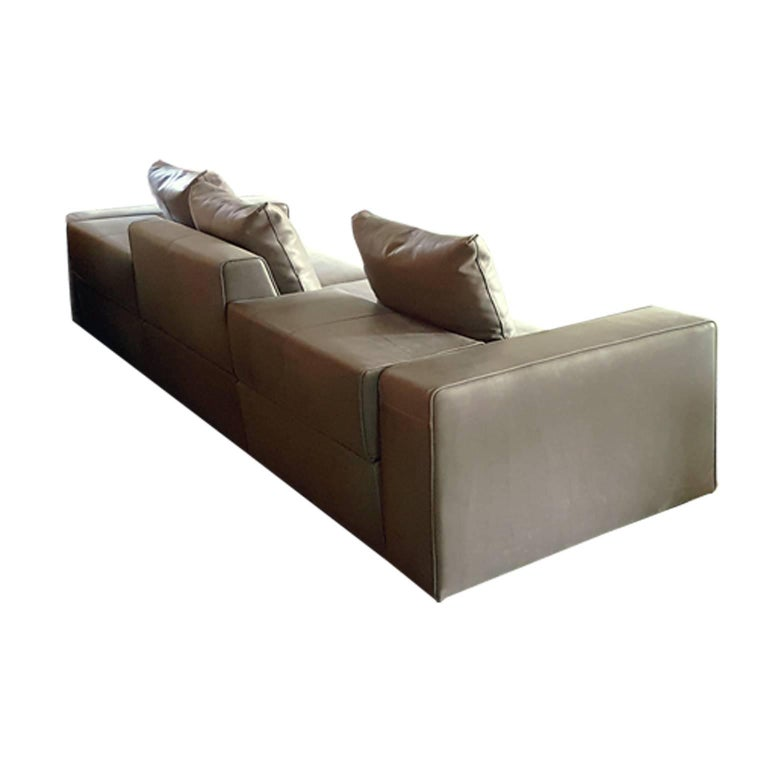 Other Italian Contemporary Natural Leather Large Molteni Sofa with Double Dept For Sale