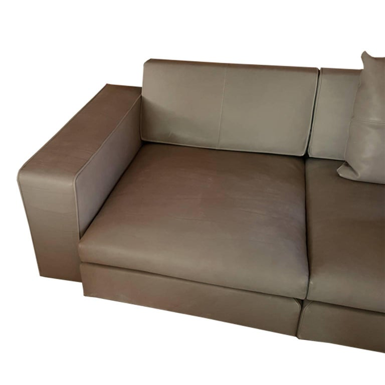 Steel Italian Contemporary Natural Leather Large Molteni Sofa with Double Dept For Sale