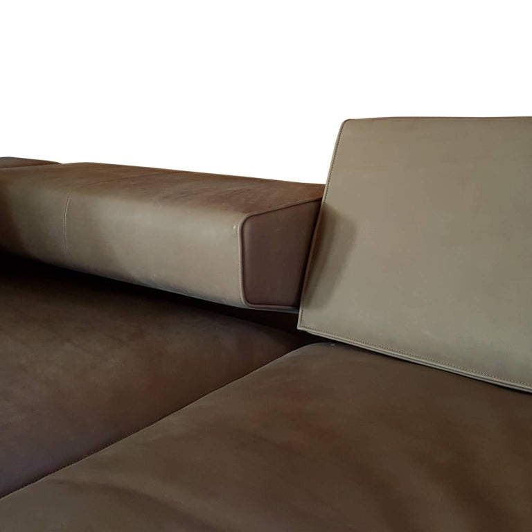 Italian Contemporary Natural Leather Large Molteni Sofa with Double Dept For Sale 1