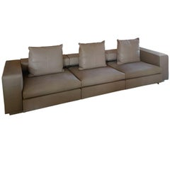 Contemporary Large Italian Sofa in Natural Leather with Double Depth by Molteni