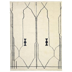 Contemporary Large Moroccan Area Rug with Line Art and Tribal Style