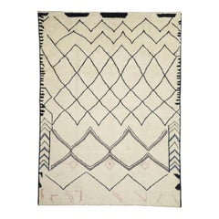 Contemporary Large Moroccan Area Rug with Line Art Design and Tribal Style