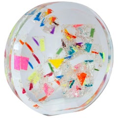 Contemporary Large Multi-Colored Acrylic Round Sphere Sculpture