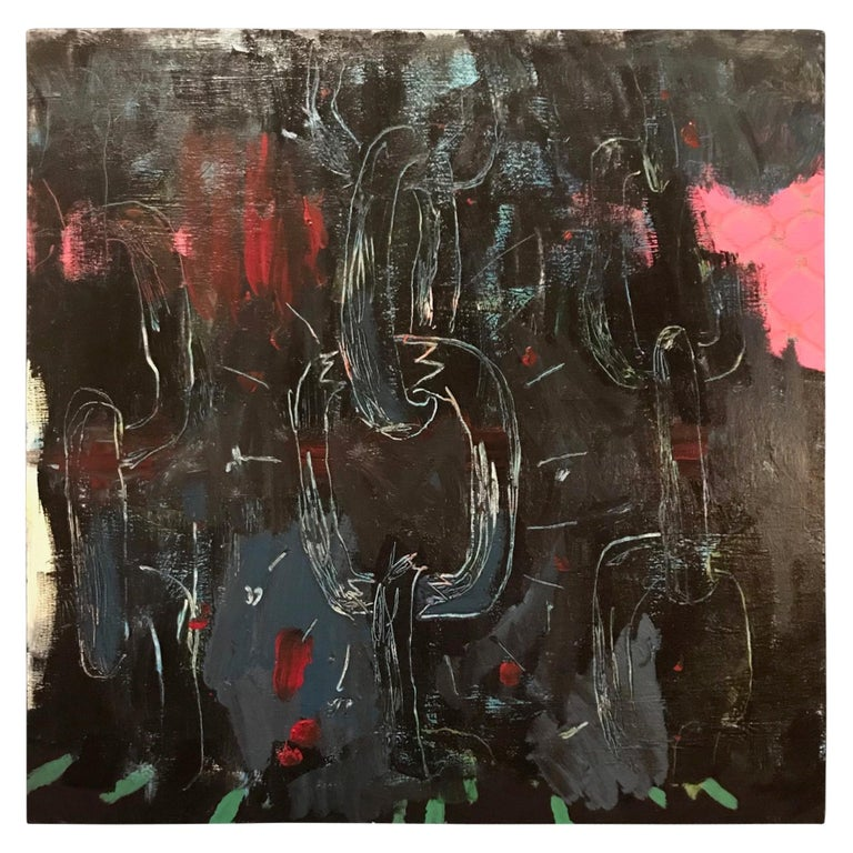 Contemporary Large Original Graffiti Art Painting in Basquiat Style For Sale