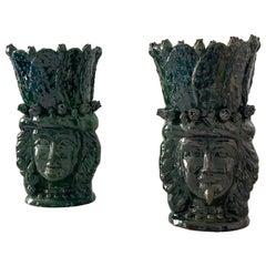 "Contemporary Large Sicilian Handmade Ceramic Vases ""Testa Siciliana"" Sicily 21st"