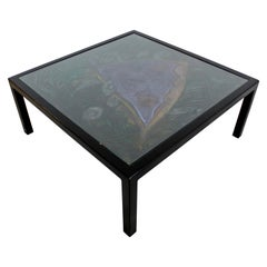Contemporary Large Square Black Pastel & Glass Coffee Table Artist Lois Teicher