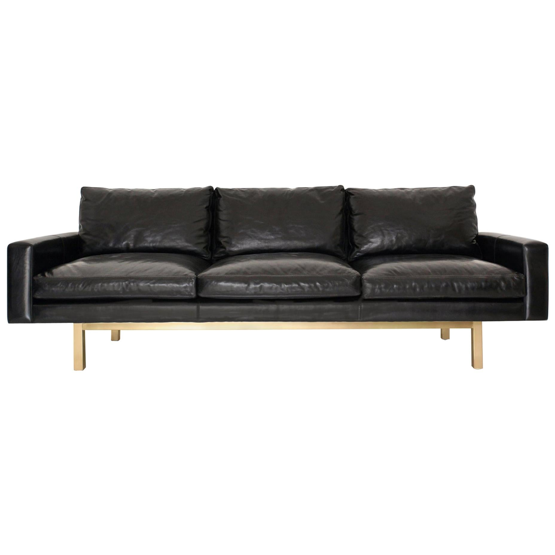Contemporary Large Standard Sofa in Black Leather with Brass Base
