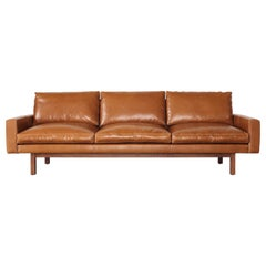 Contemporary Large Standard Sofa in Caramel Leather with Walnut Base