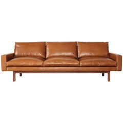 Contemporary Large Standard Sofa in Caramel Leather with Walnut Base, in Stock