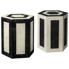 Contemporary Laser Cut Stone Side Tables-Set of 2