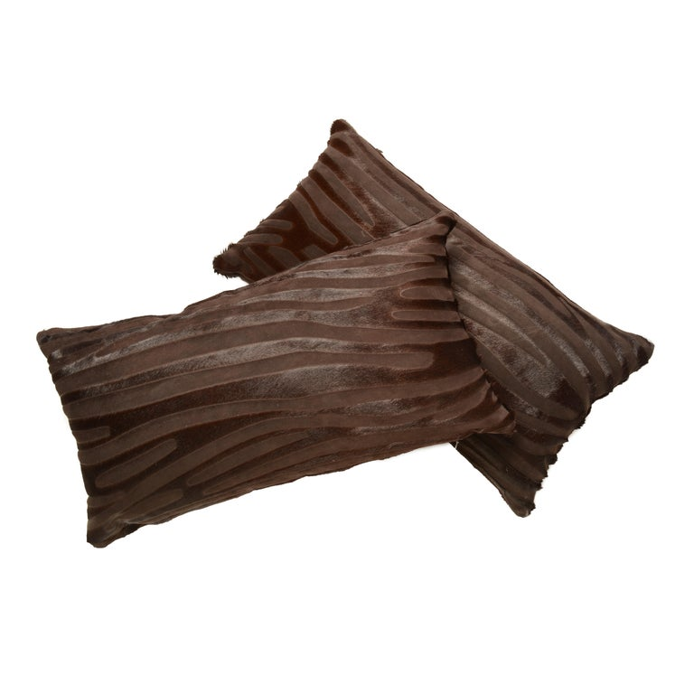 French Contemporary Laser Cut Zebra Print Cowhide Hair Lumbar Pillows For Sale