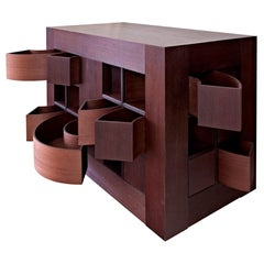 """Contemporary Latvian Wenge Cube Chest of Drawers """"CRES"""" by Janis Straupe"""
