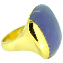 Contemporary Lavender Jade Gold Ring