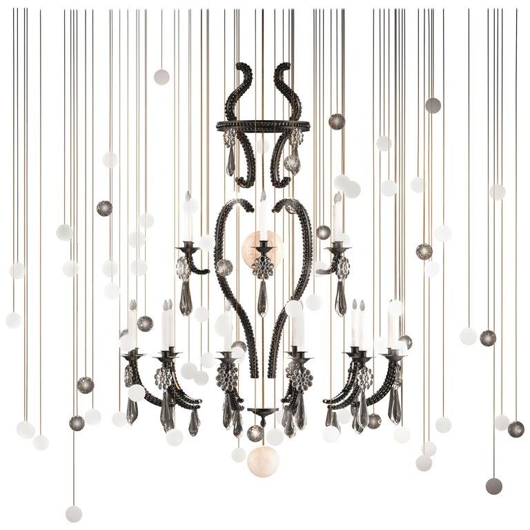 "Contemporary ""Le Merveilleux Black"" Chandelier Painted Steel, Alabaster, Glass For Sale"