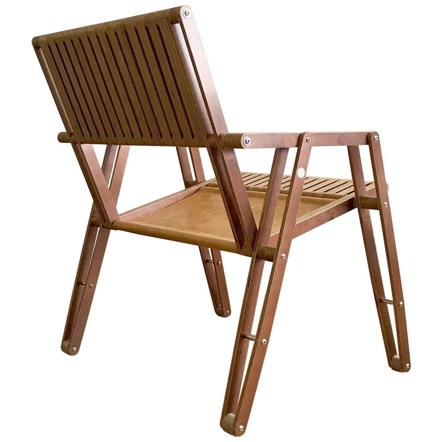 Contemporary Leather and Wood Rocking Chair