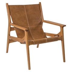 Contemporary Leather Armchair in Mid-Century Modern Style