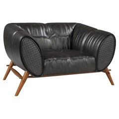 Contemporary Leather Armchair in Turned Wooden Base