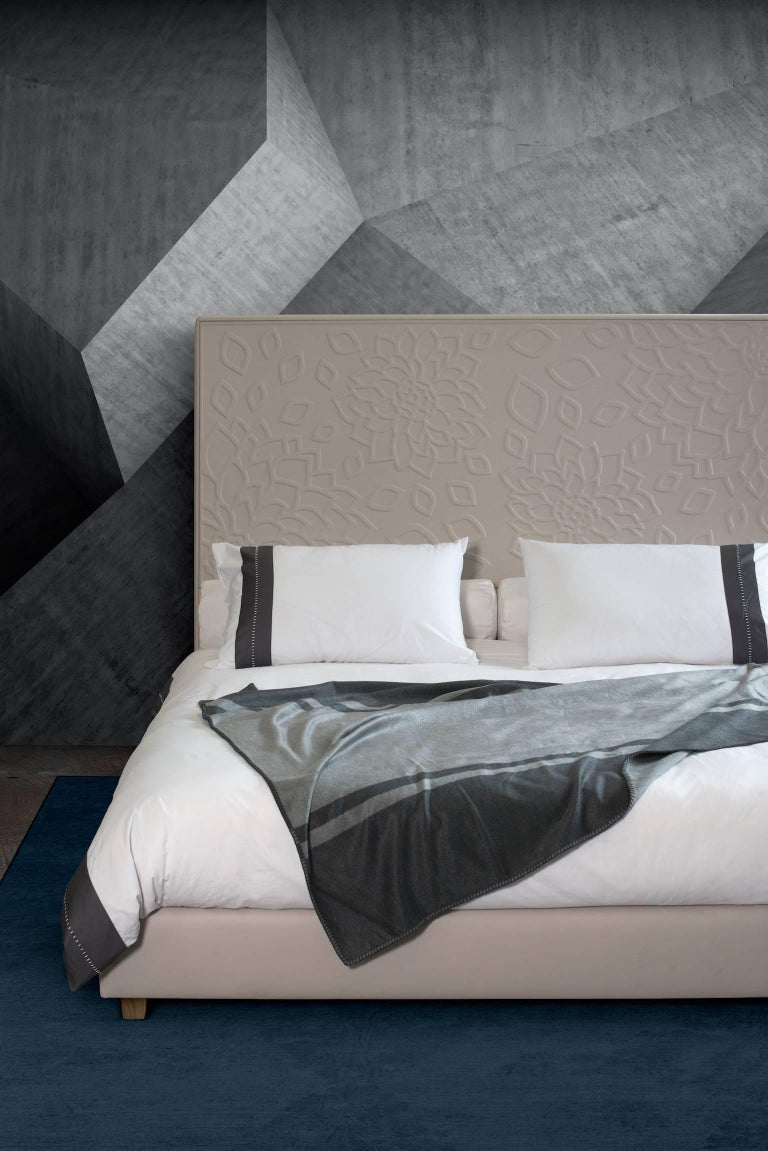 Embossed Contemporary Leather Bed, Handmade in Italy, Customizable For Sale