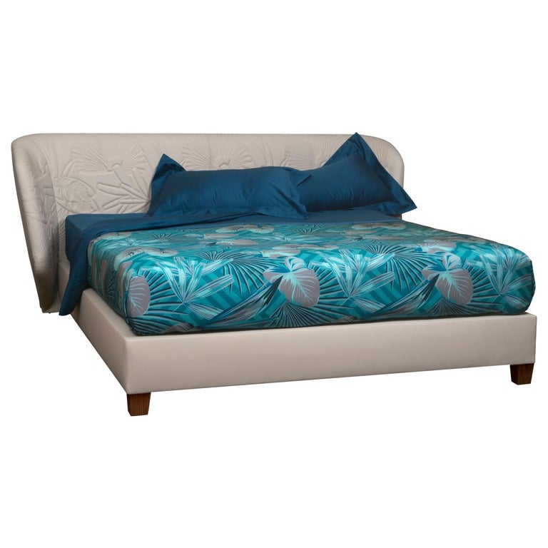 Contemporary Leather Bed, Handmade in Italy, Customizable For Sale