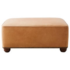 Contemporary Leather Covered Ottoman or Bench