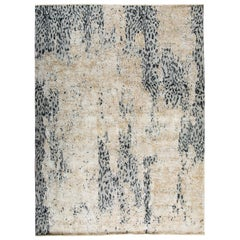 Contemporary Leopard Wool and Silk Hand-Knotted Indian Rug in Gray and Creme