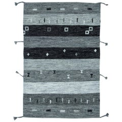 Contemporary Light and Dark Gray Flat-Weave Wool Rug