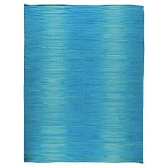 Contemporary Light Blue Hand Knotted Wool Kilim Rug