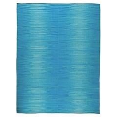Contemporary Light Blue Kilim Rug