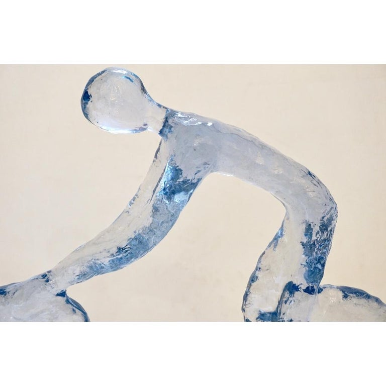 American Contemporary Light Blue Lucite Sculpture of Modern Minimalist Cyclist  For Sale