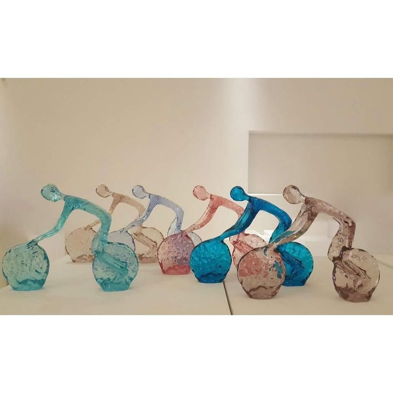 Hand-Crafted Contemporary Light Blue Lucite Sculpture of Modern Minimalist Cyclist  For Sale