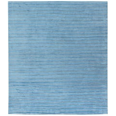 Contemporary Light Blue and White Striped Hand Tufted Rug