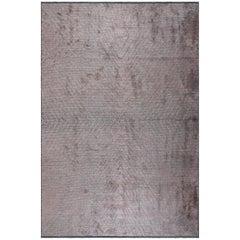 Contemporary Lilac and Silver Gray Chevron Pliable Soft Semi-Plush Rug in Stock