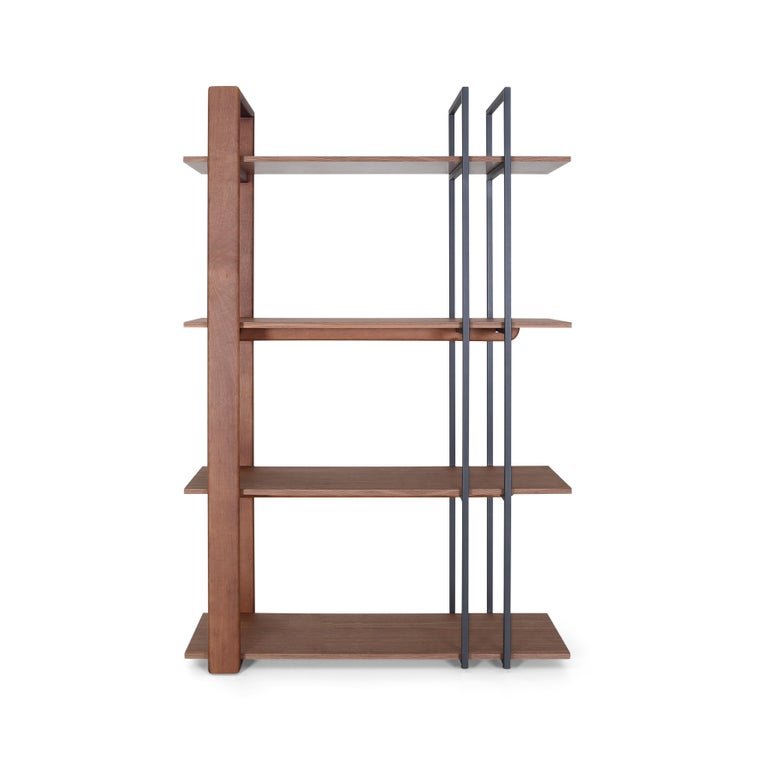 Contemporary Lim Bookcase in Walnut and Black Metal For Sale 1