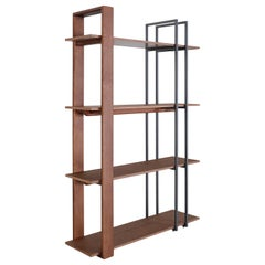 Contemporary Lim Bookcase in Walnut and Black Metal