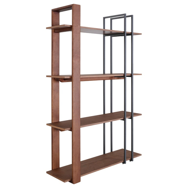 Contemporary Lim Bookcase in Walnut and Black Metal For Sale