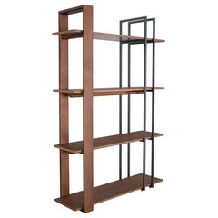 Contemporary Lim Bookcase in Walnut and Graphite Metal