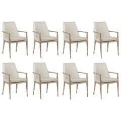 Contemporary Lime Washed Wooden Chairs Set of 8