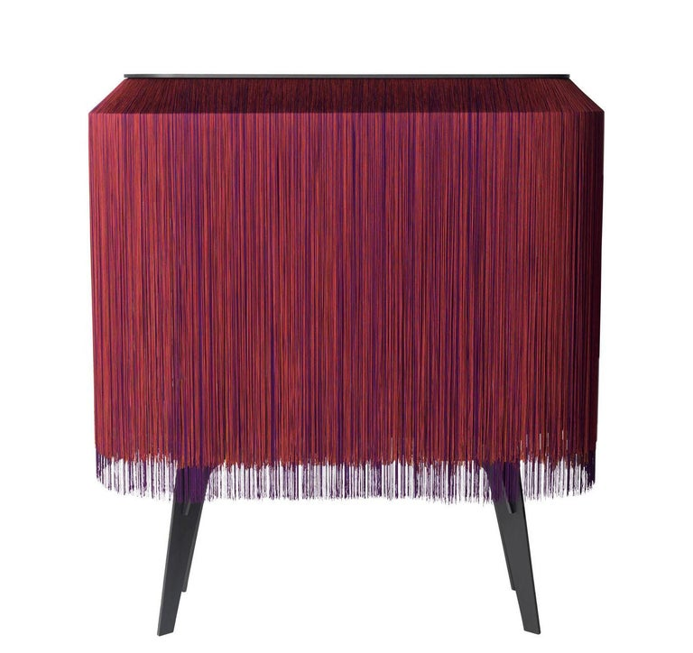 Modern Contemporary Limited Edition French Sideboard Covered with Silk Fringes For Sale