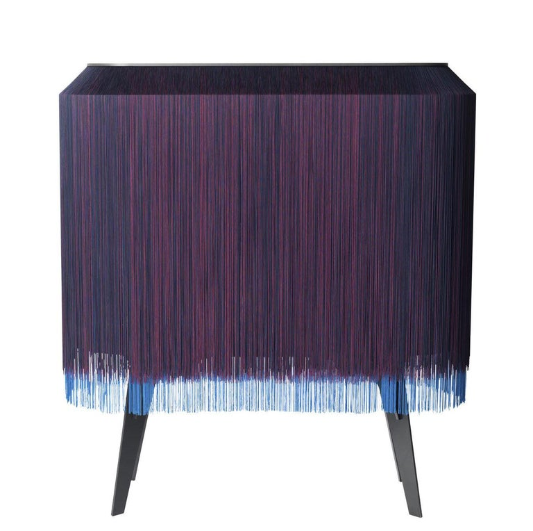 Contemporary Limited Edition French Sideboard Covered with Silk Fringes In New Condition For Sale In New York, NY