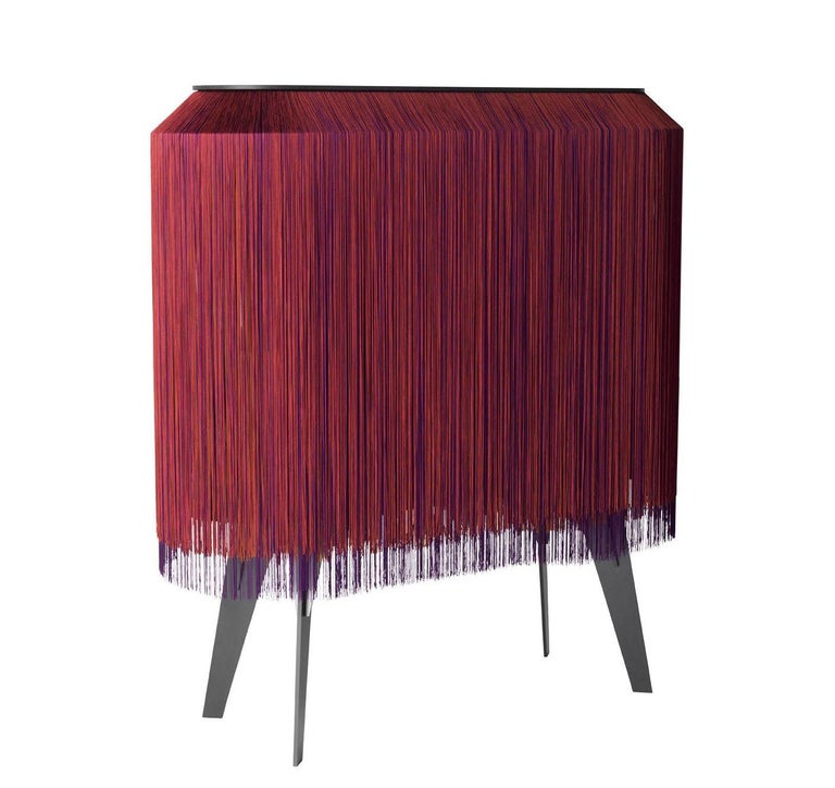 Wood Contemporary Limited Edition French Sideboard Covered with Silk Fringes For Sale