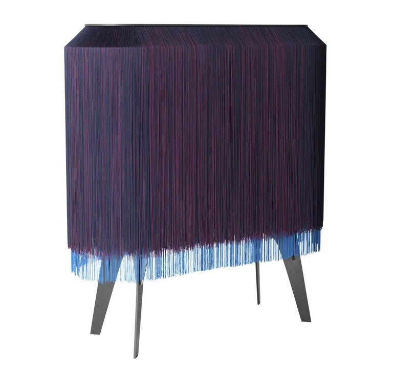 Contemporary Limited Edition French Sideboard Covered with Silk Fringes For Sale 1