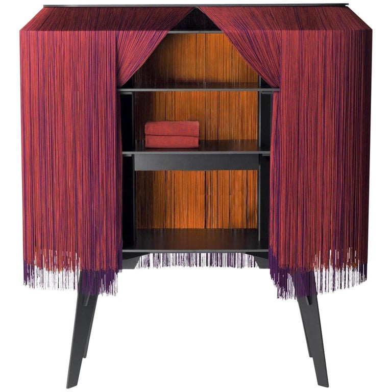 Contemporary Limited Edition French Sideboard Covered with Silk Fringes For Sale