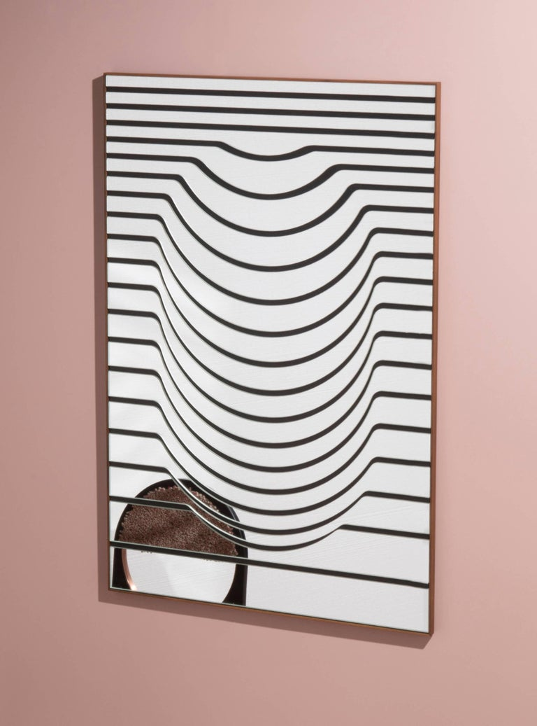 Contemporary Line Clear Mirror with Walnut Frame, Handmade in USA In New Condition For Sale In Firenze, IT