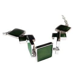 Contemporary Link Bracelet with Dark Green Quartzes, Featured in Vogue