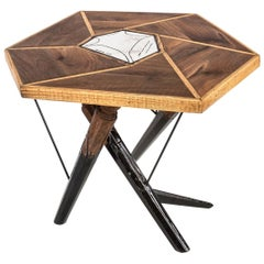 Contemporary Liquid Raku Tea-Table Made of Wood, Raku Ceramics and Resin