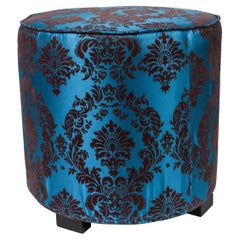 Contemporary Royal Blue Upholstered Round Stools