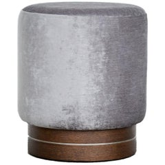 La Sorellina, Scandinavian Small Pouf in Velvet on Stained Oak Base, Steel Décor