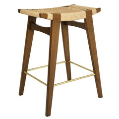 Contemporary lo-pi Bar Stool, Fumed Oak with Danish Cord Seat & Brass Foot Rails