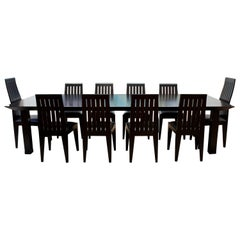 Contemporary Long Black Wood Ohashi Dining Table & Set of 10 Side Chairs, 1980s