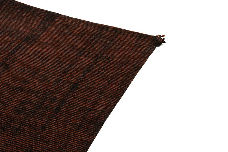 Modern Contemporary Loop and Pile Runner Orange-Brown Striped Rug by Rug & Kilim